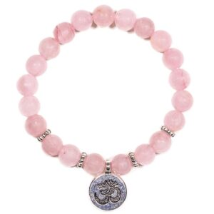 Mala/armband rozenkwarts elastisch met ohm — 0.8 cm
