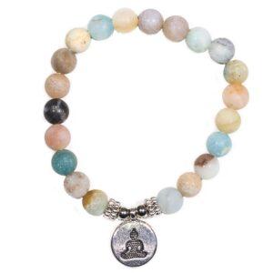 Mala/armband amazoniet elastisch met boeddha — 0.8 cm