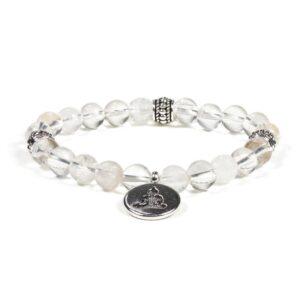 Mala/armband bergkristal elastisch met boeddha — 0.8 cm