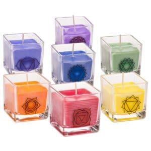 Set van 7 chakra koolzaadwas eco geurkaarsen — 7×260 g