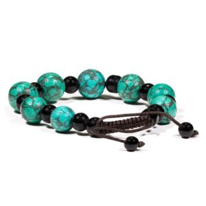 Armband turkoois & zwarte agaat