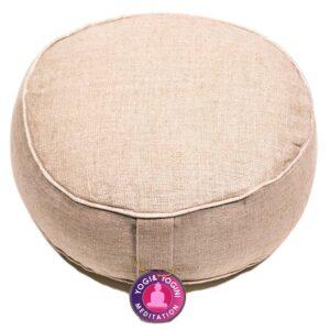 Meditatiekussen hennep met witte randen — 33×12 cm