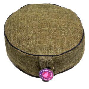 Meditatiekussen hennep groen met donkere randen — 33×12 cm