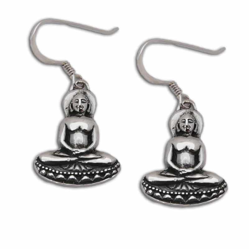 boeddha oorbellen zilver 2 cm