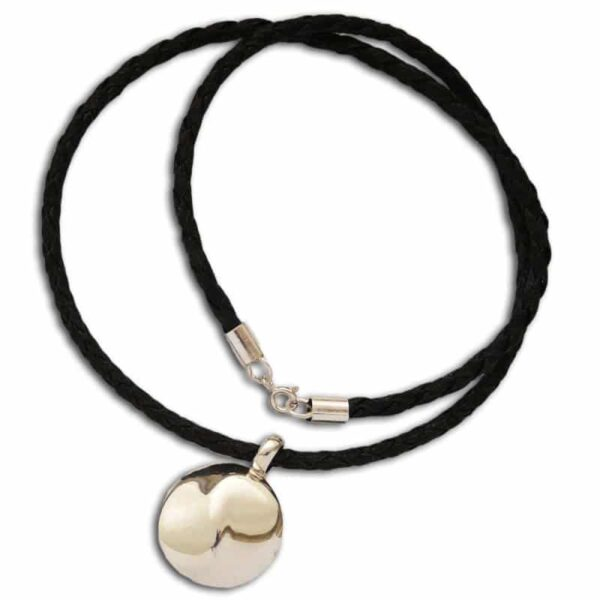 yin yang ketting zilver en leer 50 cm 1