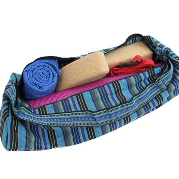 yogamat tas katoen blauw gestreept