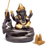 Backflow waterval wierookbrander Ganesha -- 9x6x10cm